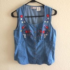 Faded Glory embroidered babydoll denim tank top
